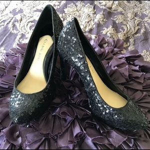 Giani Bini Black Sequin Pumps Heels Shoes Size 6